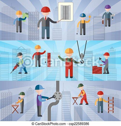 Estandartes planos de construcción - csp22589386