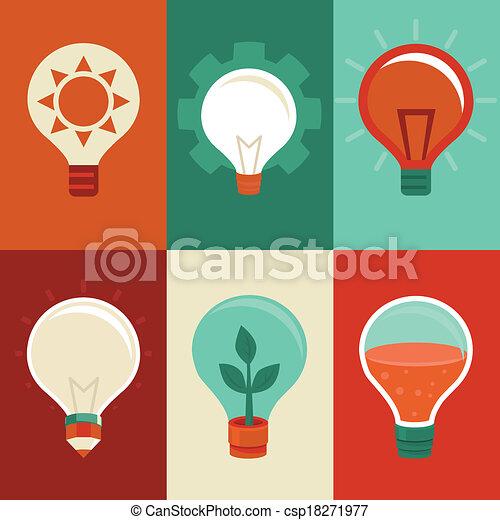 Idea e innovación conceptos - bombillas planas - csp18271977