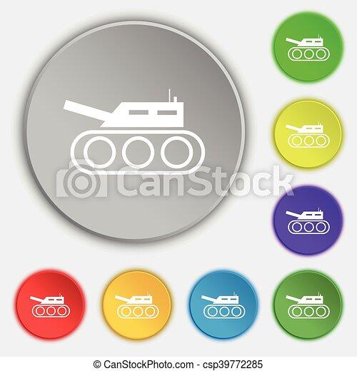 Plano, buttons., ejército, tanque, símbolo, guerra, vector, ocho ...