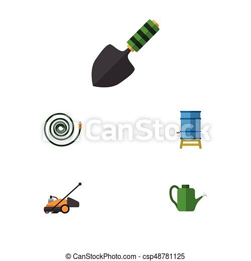 Un juego de iconos planos de cortadora de césped, Baileyr, manguera y otros objetos vectoriales. También incluye la manguera, el jardín, los elementos de los Bailey. - csp48781125
