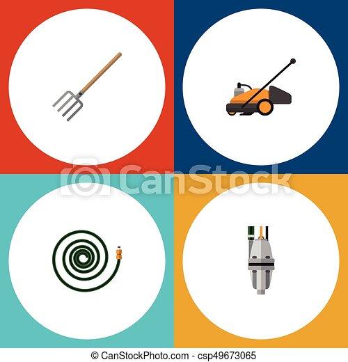 Jardín de iconos planos de la bomba, tenedor de heno, manguera y otros objetos vectoriales. También incluye jardine, podadora, elementos de césped. - csp49673065