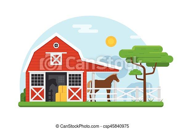 Establos De Caballos En Diseño Plano Paisaje Rural De