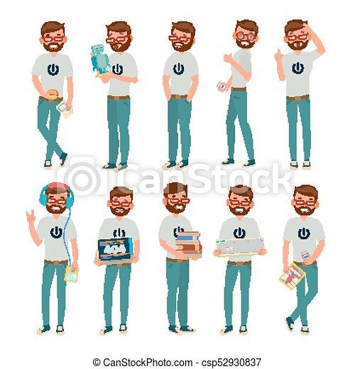 Vector raro. Hombre. Ilustración de personajes de dibujos planos - csp52930837