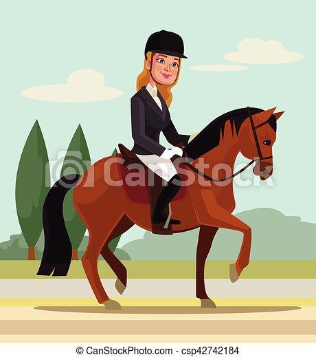 Un personaje femenino montando a caballo. Deporte profesional. Ilustración plana de dibujos animados - csp42742184