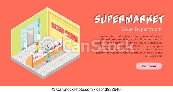 adb82f6c6ffe Plano, carne, banner., supermercado, vector, departamento. Plano ...