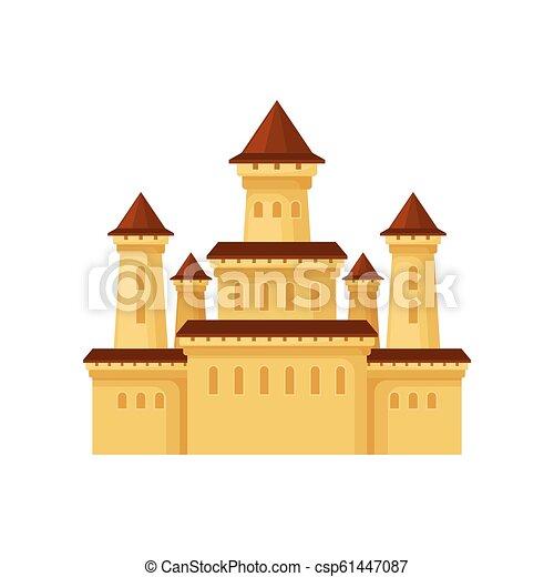 Icono vectorial plano del palacio medieval. Castillo amarillo con techos cónicos. Elemento para el poster del centro de entretenimiento infantil - csp61447087