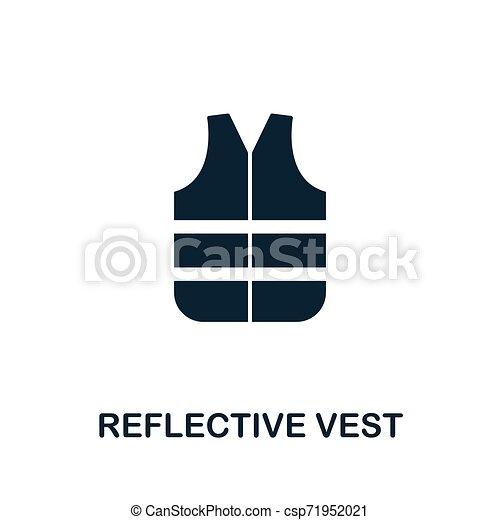 Símbolo de vector de vector reflejativo. Señal creativa de la colección de iconos de herramientas de construcción. Rellenó el icono del Vest de modo reflejado por ordenador y móvil - csp71952021