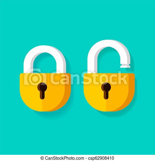 Bloqueo abierto y bloqueo de vectores cerrados iconos, dibujos animados planos diseño de clipart aislado - csp62908410