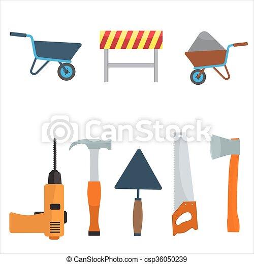 Plano, color, set., vector, diseño, construcción, herramientas ...