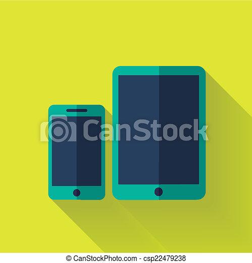 plano, colorido, diseño, dispositivo digital, icono - csp22479238