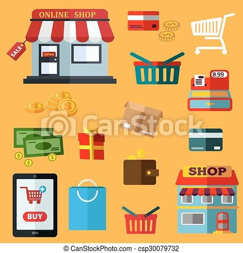 Comprando y vendiendo iconos planos - csp30079732