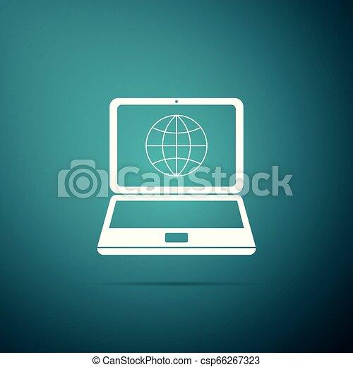 Globo en pantalla de icono portátil aislado en el fondo verde. Una computadora con una señal de globo. Diseño plano. Ilustración de vectores - csp66267323