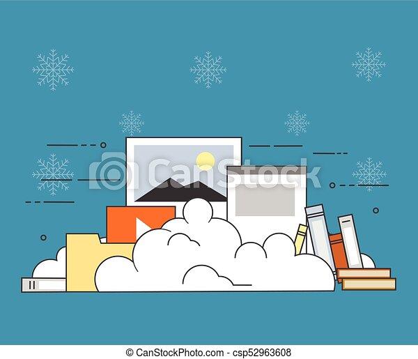 plano, computadora, invierno, almacenamiento, ilustración, vector, diseño, plano de fondo, dispositivo, seguridad, datos, nube - csp52963608