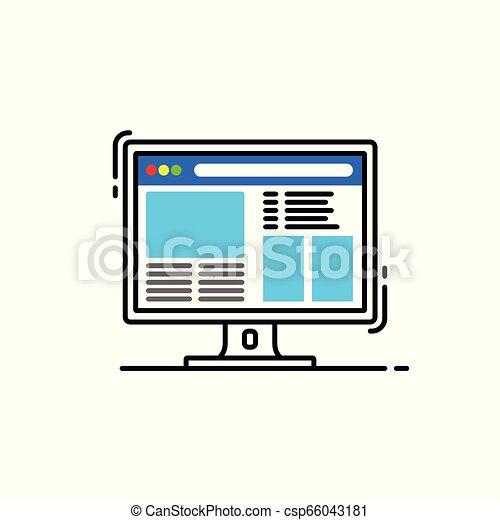 Icono Vector, diseño plano de una computadora Desktop con página web en la pantalla - csp66043181
