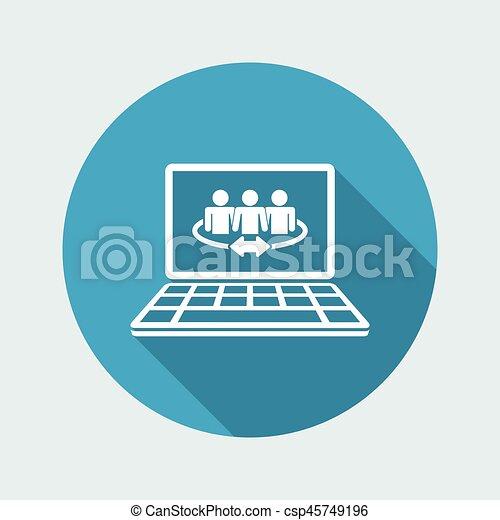 Conexión comunitaria en Internet: icono plano Vector - csp45749196