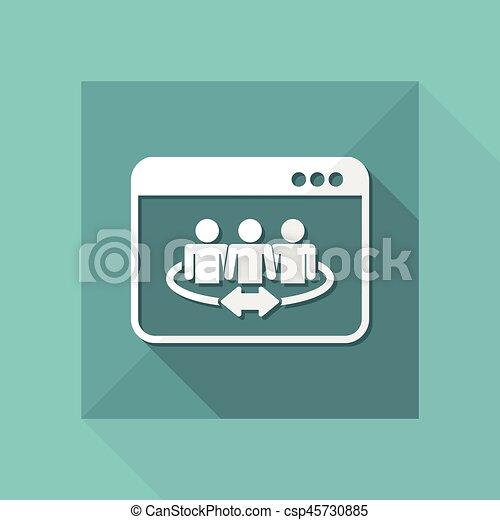 Conexión comunitaria en Internet: icono plano Vector - csp45730885
