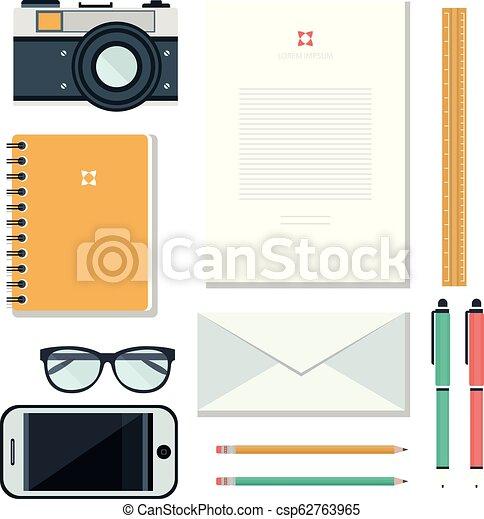 Un concepto de lugar de trabajo. Diseño plano. - csp62763965