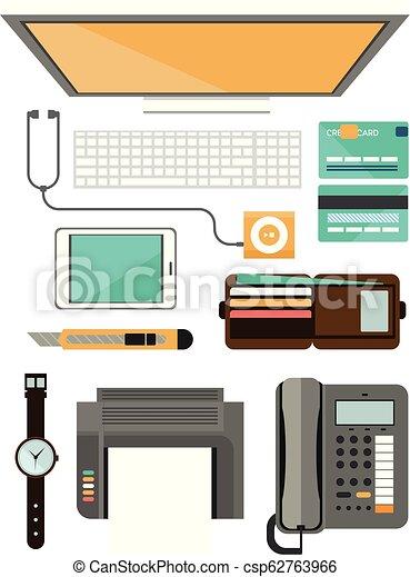 Un concepto de lugar de trabajo. Diseño plano. - csp62763966