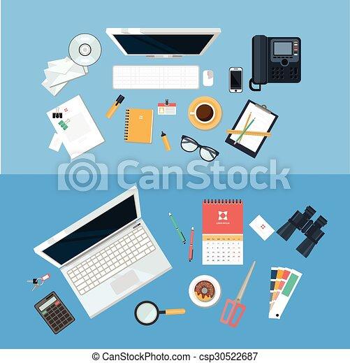 Un concepto de lugar de trabajo. Diseño plano. - csp30522687
