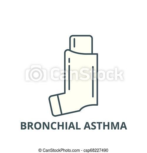 Icono de la línea de asma bronquial, vector. Señal de asma bronquial, símbolo conceptual, ilustración plana - csp68227490