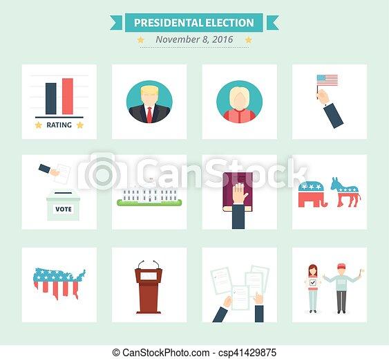 Los iconos presidenciales de EE.UU. Votar símbolos conceptuales al estilo plano. - csp41429875