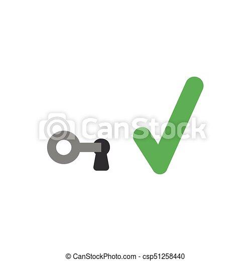 vector de diseño plano concepto de clave en cerradura con marca de cheque - csp51258440