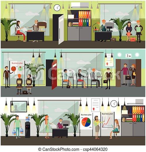 Ilustración de vectores de oficina en estilo plano. - csp44064320