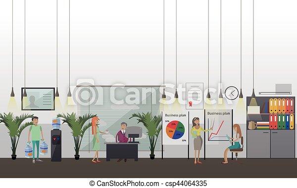 Presentación de la oficina vector ilustración en estilo plano. - csp44064335