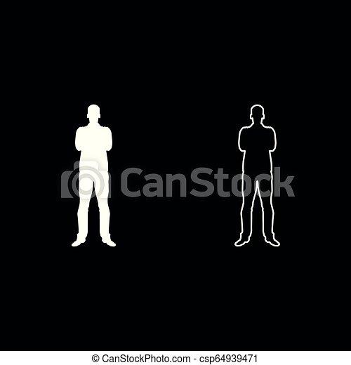 El hombre con el concepto de confianza de los brazos cruzados el icono de los hombres de negocios puso la ilustración de color blanco plano estilo simple imagen - csp64939471