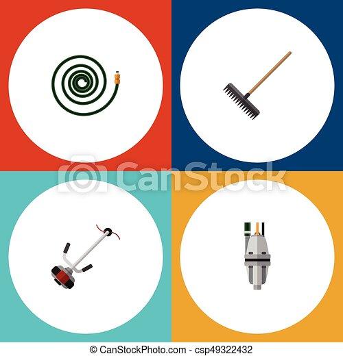 icono plano dacha set de manguera, bomba, cortadora de césped y otros objetos vectoriales. También incluye podadora, bomba, elementos de manguera. - csp49322432
