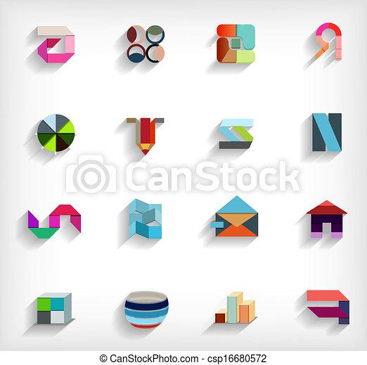 plano, conjunto, empresa / negocio, resumen, geométrico, icono, 3d - csp16680572