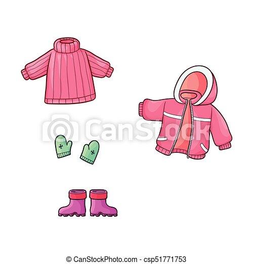 be55643b2b77 plano, conjunto, equipo, vector, ropa, niña, niño