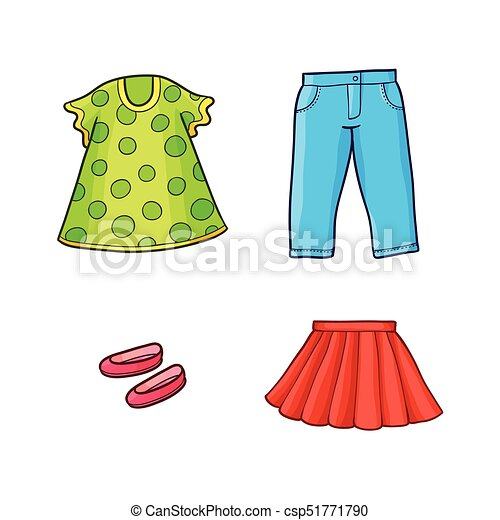 ab68dce4738a Plano, conjunto, equipo, vector, ropa, niña, niño. Conjunto, shoes ...