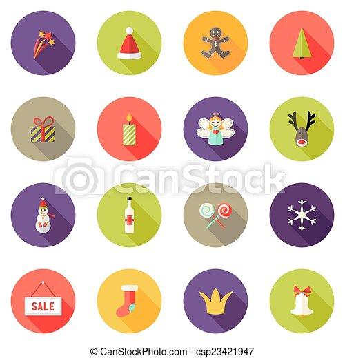 Los iconos del círculo de Navidad marcan 3 - csp23421947