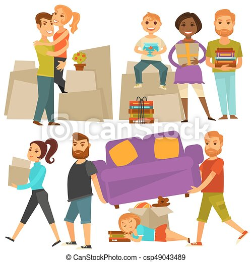 La gente que se muda de casa se traslada de los iconos planos - csp49043489