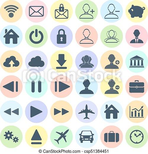 Un conjunto de iconos modernos de web, multimedia y iconos de negocios en A - csp51384451