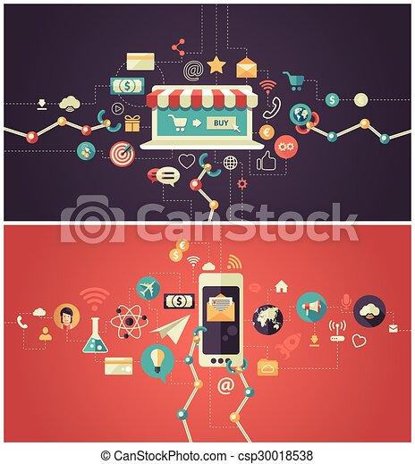 Estandartes modernos de diseño plano de negocios de anuncios, encabezados con iconos - csp30018538