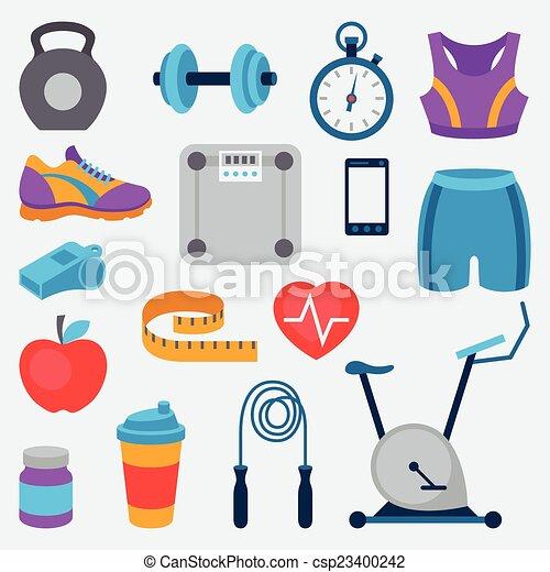 Los íconos deportivos y fitness se colocan al estilo plano. - csp23400242