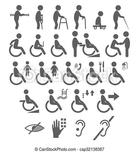 Un conjunto de personas discapacitadas pictogramas iconos planos aislados en blanco - csp32138387