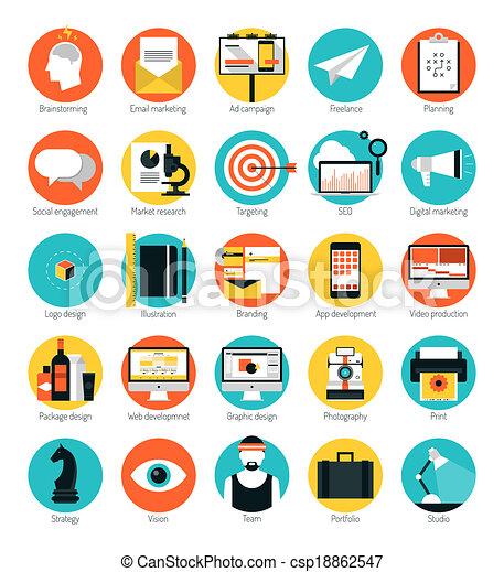 Mercadeo y servicios de diseño iconos planos - csp18862547