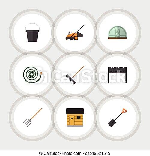 Jardín de iconos planos de heno, invernadero, barbacoa y otros objetos vectoriales. También incluye tenedor, granero, elementos braseros. - csp49521519
