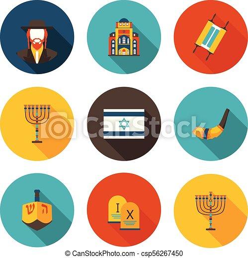 Un conjunto de iconos planos del judaísmo - csp56267450