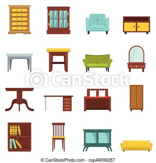 Plano, conjunto, oficina, casa, caricatura, muebles. Infographics ...