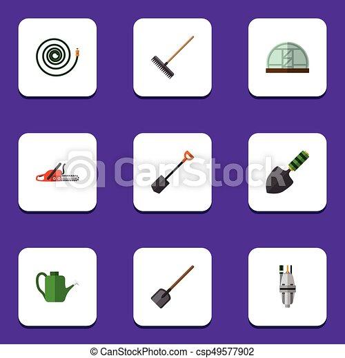 icono plano dacha set de Bailey, pala, pala y otros objetos vectoriales. También incluye manguera, sierra, elementos de granja. - csp49577902