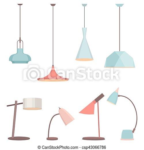 Señal de lámparas fijada para el interior. La lámpara de suelo eléctrico y lámparas de mesa concepto. Objeto de decoración casera al estilo plano. Vector accesorio - csp43066786
