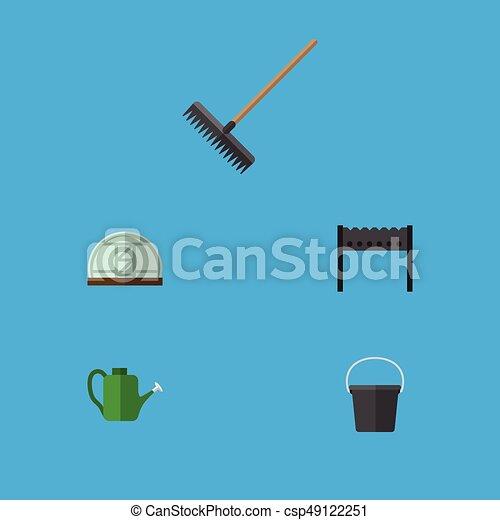 Jardín de iconos planos de barbacoa, cubo, invernadero y otros objetos vectoriales. También incluye granjas, rastrillos, elementos de agua. - csp49122251