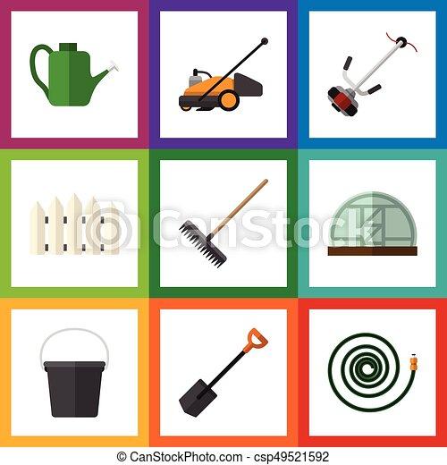 Jardín de iconos planos de invernadero, gorrión, manguera y otros objetos vectoriales. También incluye manguera, rastrillo, elementos de manguera. - csp49521592