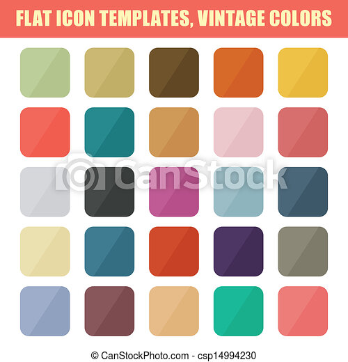 plano, conjunto, vendimia, app, vector, backgrounds., palette., plantillas, icono - csp14994230