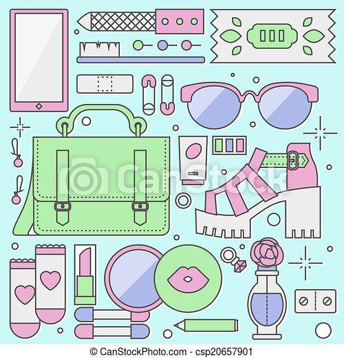 Las damas de moda objetan ilustraciones planas - csp20657901