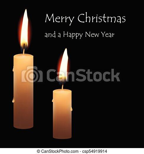 Tarjeta de felicitación de Navidad real quema velas en el fondo negro Feliz Navidad - csp54919914